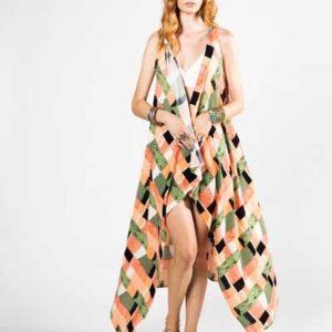 Ροζ Και Πράσινο Παρεό Φόρεμα -Βαμβακερό Παρεό -Φόρεμα
