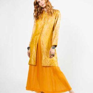 Orange Chiffon Skirt And Yellow Silk Jacket