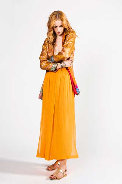 Orange Chiffon Skirt And Orange Silk Indian Jacket Μάξι
