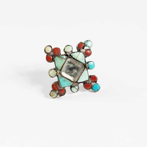 Boho Δαχτυλιδι - Indian Silver With Turquoise And Ruby Powder.