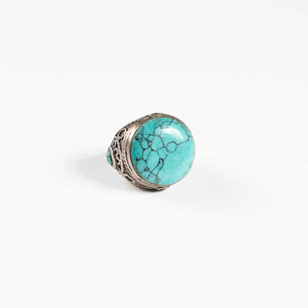 Boho Δαχτυλιδι - Indian Silver With Big Turquoise Stone .