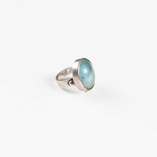Boho Δαχτυλιδι - Greek Silver 9.25 With Blue Acquamarine Stone.