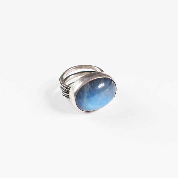 Boho Δαχτυλιδι - Greek Silver 9.25 With Blue Moonstone.