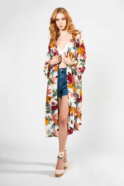 Boho Style Kimono Flower Εμπριμέ Με Κόκκινα Και Πορτοκαλί Λουλούδια