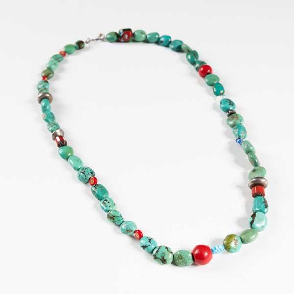 Boho Κολιέ. Necklace With Big Turquoise Stones.