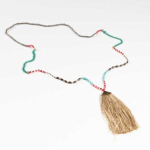 Boho Κολιέ. Long Faux Necklace With Multicolored Beads With A Tassel. ,