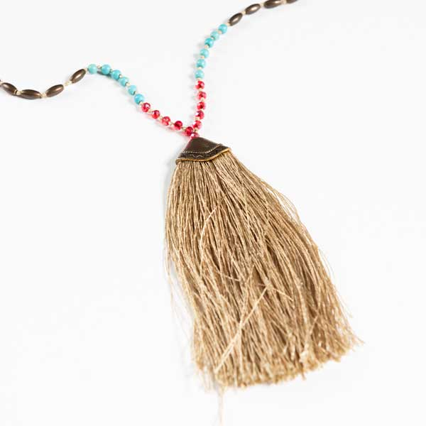 Boho Κολιέ. Long Faux Necklace With Multicolored Beads With A Tassel