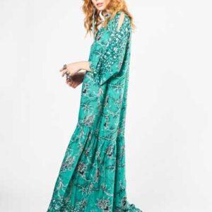 Βοho Green Flower Μάξι Φόρεμα