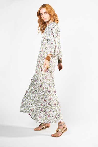 Boho White Flower Μάξι Φόρεμα