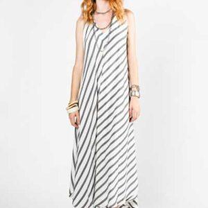 Marrakesh Zebra Μάξι Φόρεμα Λευκό Με Γκρι Ρίγες