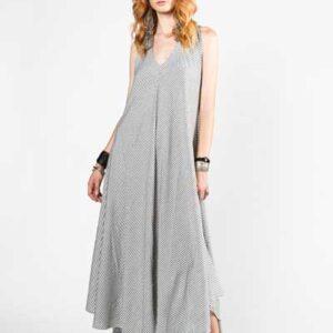 Marrakesh Stripes Μάξι Χυτό Φόρεμα Λευκό Με Γκρι Ρίγες