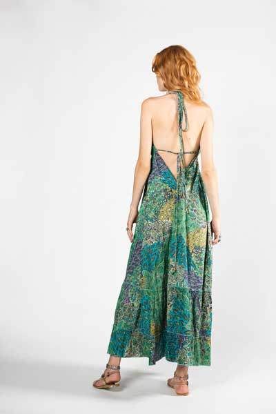 Gypsy Soul Μπλε Mάξι Βραδινό Φόρεμα