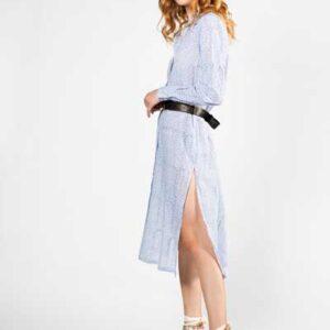 Cyclades Πουκαμίσα- Φόρεμα Λευκό Με Λεπτή Μπλε Ρίγα