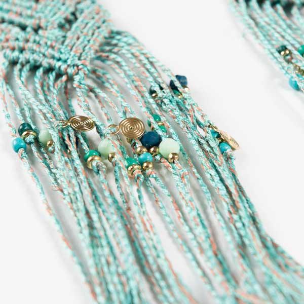 Σκουλαρίκια Blue Large And Very Long Μακραμέ Boho Σκουλαρίκια