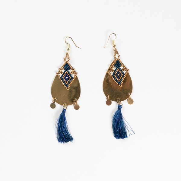 Boho Σκουλαρίκια Bronze Earings With Blue Tussel.