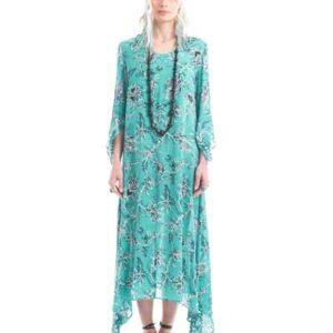 Miidi φορεμα σε πρασινο,χρώμα με μαύρο λουλούδι