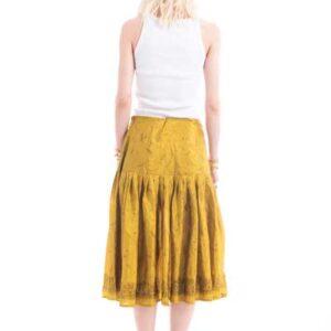 Φούστα από μεταξωτό ύφασμα ,midi, σε στυλ 50s, σε χρυσό χρώμα, πλισε, βραδινή.