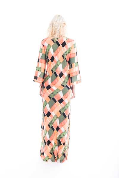 Mάξι φόρεμα ως τον αστράγαλο σε πορτοκαλί και ροζ χρωματα