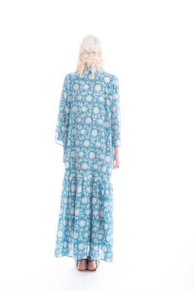 Μάξι,βαμαβκερό σε μπλε χρώμα με άσπρο λουλούδι, βραδινό