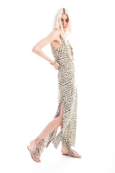 Βραδινό φόρεμα, μάξι με σκισίματα, αμάνικο