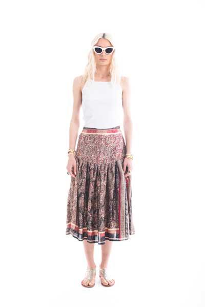Φούστα από μεταξωτό ύφασμα, midi, σε στυλ 50s, σε μπορντω, μαυρο κ λευκο χρώμα