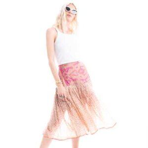 Φούστα από μεταξωτό ύφασμα, midi, σε στυλ 50s, σε Light ροζ με λουλουδάκι